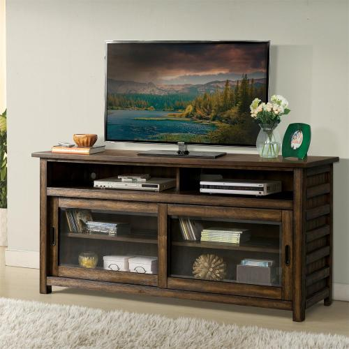 Riverside - Perspectives - 64-inch TV Console - Brushed Acacia Finish