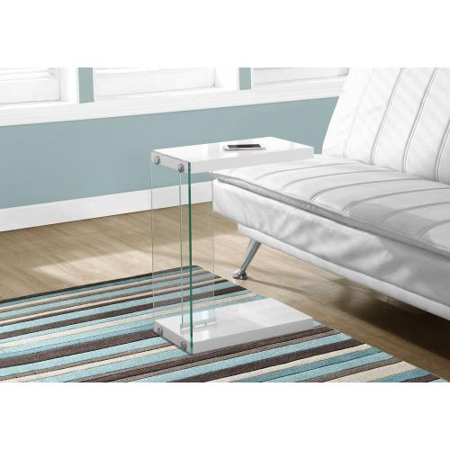 Gallery - ACCENT TABLE - GLOSSY WHITE WITH TEMPERED GLASS