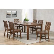 DLU-BR4272-C60-AM7PC  7 Piece Extendable Table Dining Set 6 Slat Back Chairs Amish Brown