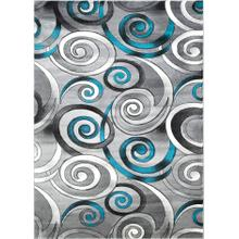 DA-414 TURQUOISE Abstract Small Swirl Rug