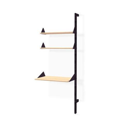 Branch Desk Unit Add-On Black Uprights Black Brackets Blonde Shelves
