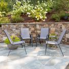4 Pack Brazos Series Gray Outdoor Stack Chair with Flex Comfort Material and Metal Frame Product Image