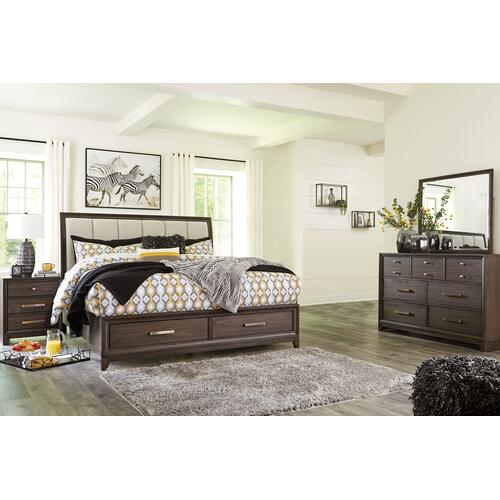 Queen Panel Bed With 2 Storage Drawers With Dresser