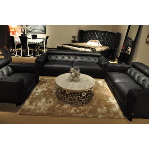 Divani Casa Nantes - Black Italian Leather Tufted Sofa Set