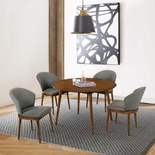 """See Details - Arcadia and Juno 48"""" Round Charcoal and Walnut Wood 5 Piece Dining Set"""