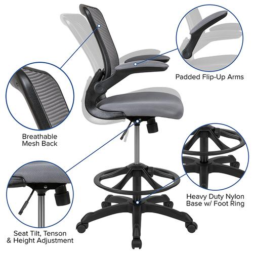 Gallery - Mid-Back Dark Gray Mesh Ergonomic Drafting Chair with Adjustable Foot Ring and Flip-Up Arms