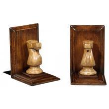 Walnut chess piece bookends (Knight)