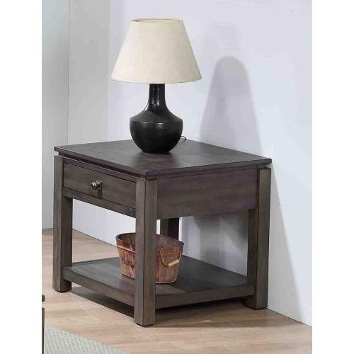 End Table with Drawer and Shelf - Shades of Gray