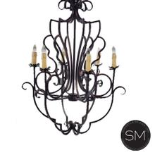 See Details - French Country Style Chandelier Awe-Inspiring Flower Design Dark Bronze