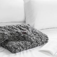 Lodge - Cable-Knit Throw Blanket, Matte Charcoal