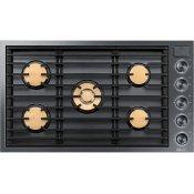 """36"""" Gas Cooktop, Graphite Stainless Steel, Natural Gas"""