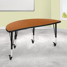"Mobile 47.5"" Half Circle Wave Collaborative Oak Thermal Laminate Activity Table - Height Adjustable Short Legs"