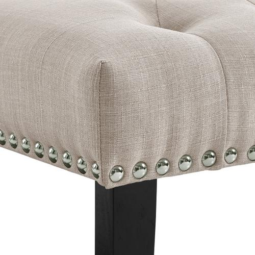 Beige Diamond Button Tufted Upholstered Bed Bench