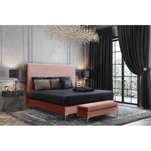 Delilah Blush Textured Velvet Bed in Queen