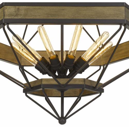 Alicante 60W X 9 Pine Wood/Metal Chandelier (Edison Bulbs Not included)