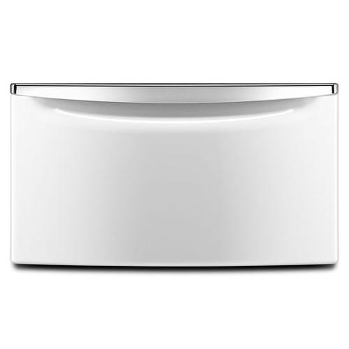 "15.5"" Laundry Pedestal with Chrome Handle and Storage Drawer - white"