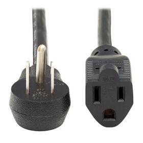 Power Extension Cord, Right Angle NEMA 5-15P to NEMA 5-15R - Heavy Duty, 15A, 120V, 14 AWG, 10 ft., Black