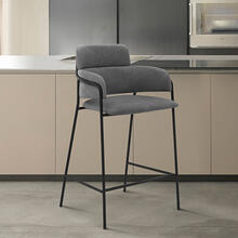 "Oshen 26"" Modern Counter Height Bar Stool with Black Metal Finish and Gray Faux Leather"