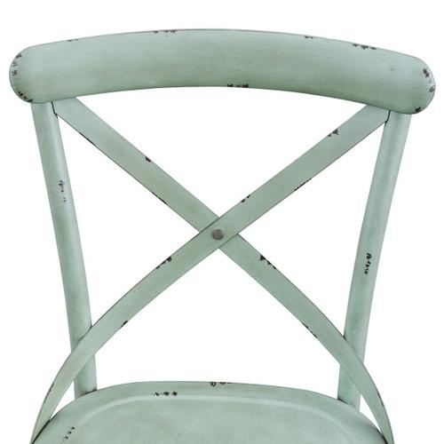 Distressed Antique Green Metal Dining Chair