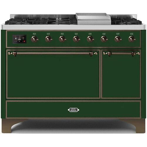 Product Image - Majestic II 48 Inch Dual Fuel Liquid Propane Freestanding Range in Emerald Green with Bronze Trim