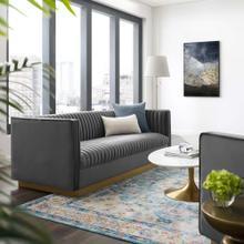 Sanguine Vertical Channel Tufted Performance Velvet Sofa in Gray