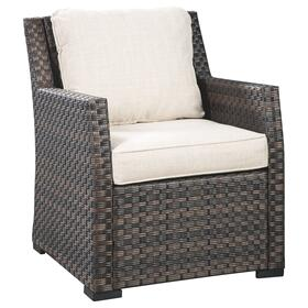 Easy Isle Lounge Chair w/Cushion (1/CN) Dark Brown/Beige