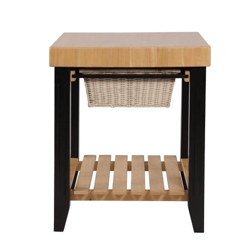 2 Basket Pull Out Drawers and Base Shelf Kitchen Island, Black and Natural
