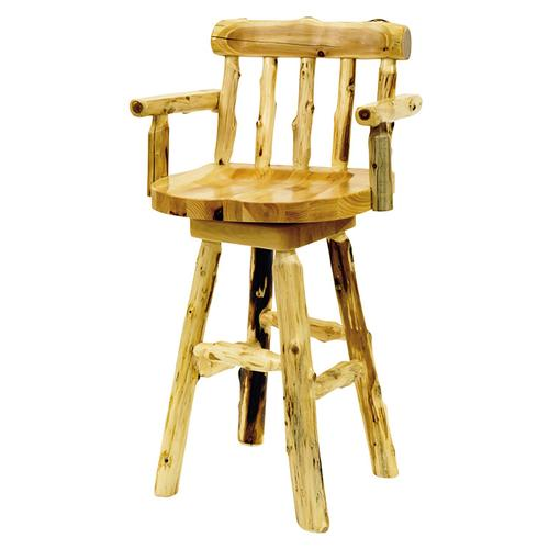 """Barstool with back and arms - 30"""" high - Natural Cedar - Wood Seat"""