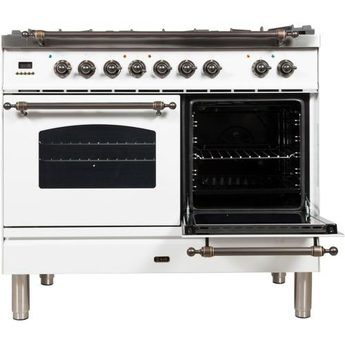 Nostalgie 40 Inch Dual Fuel Liquid Propane Freestanding Range in White with Bronze Trim