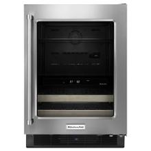 "KitchenAid KUBR204ESB   24"" Beverage Center with Glass Door and Wood-Front Racks - Stainless Steel"