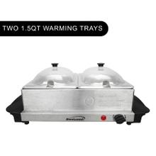 See Details - Brentwood BF-215 3-Quart 2 Pan Buffet Server and Warming Tray, Brushed Stainless Steel