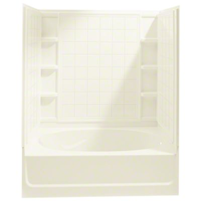 """Ensemble™, Series 7110, 60"""" x 36"""" x 72"""" Tile Bath/Shower with Age in Place Backers - Right-hand Drain - KOHLER Biscuit"""