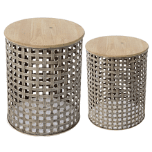 Woven Base Round Side Table (2 pc. set)