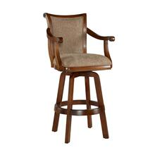 Upholstered Fabric Swivel Barstool, Lightly Distressed Warm Cherry