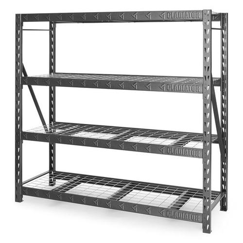 """Gladiator - 77"""" Wide Heavy Duty Rack with Four 24"""" Deep Shelves"""