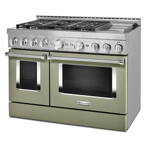 KitchenAid® 48'' Smart Commercial-Style Gas Range with Griddle - Avocado Cream