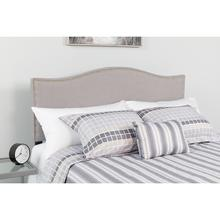 Lexington Upholstered King Size Headboard with Accent Nail Trim in Light Gray Fabric