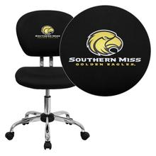 Southern Mississippi Golden Eagles Embroidered Black Mesh Task Chair with Chrome Base