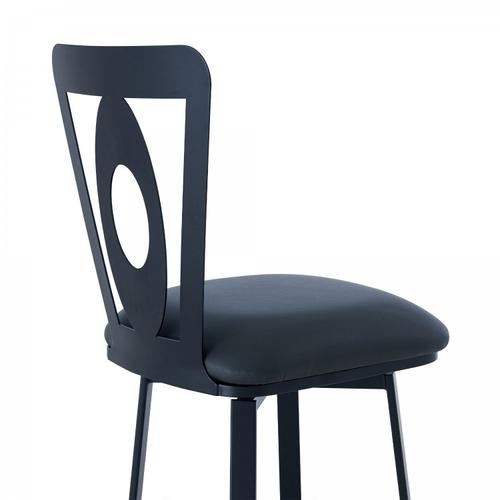 """Armen Living - Lola Contemporary 30"""" Bar Height Barstool in Matte Black Finish and Grey Faux Leather"""