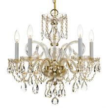 Traditional Crystal 5 Light Sw arovski Strass Crystal Brass C handelier