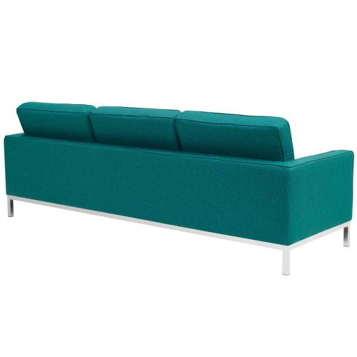 Modway - Loft 2 Piece Upholstered Fabric Sofa and Loveseat Set in Teal