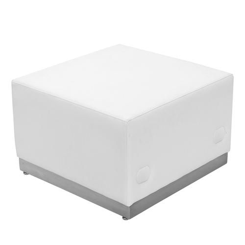 HERCULES Alon Series Melrose White LeatherSoft Ottoman with Brushed Stainless Steel Base