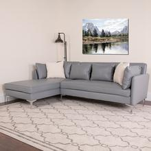 Back Bay Upholstered Accent Pillow Back Sectional with Left Side Facing Chaise in Gray LeatherSoft