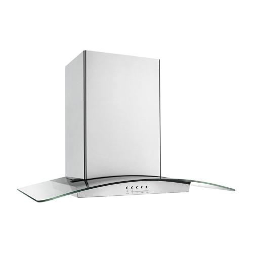 36 inch Glass Island Kitchen Hood with Glass Edge LED Lighting
