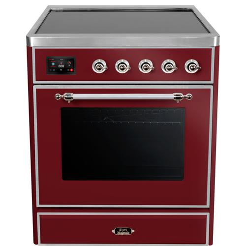 """Ilve - 30"""" Majestic II Series Freestanding Electric Single Oven Range with 4 Elements, Triple Glass Cool Door, Convection Oven, TFT Oven Control Display and Child Lock in Burgundy"""
