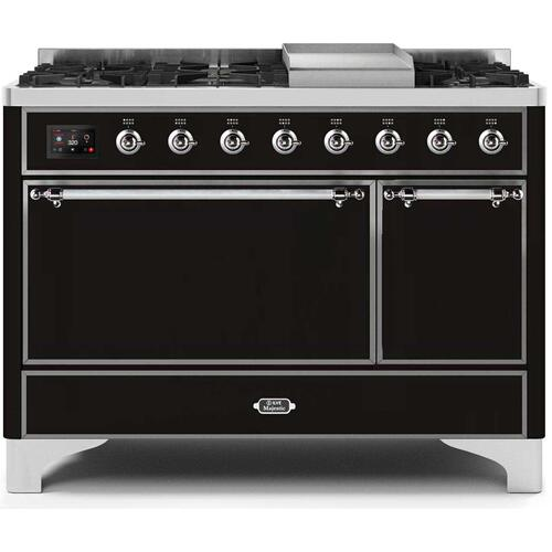 Gallery - Majestic II 48 Inch Dual Fuel Natural Gas Freestanding Range in Glossy Black with Chrome Trim
