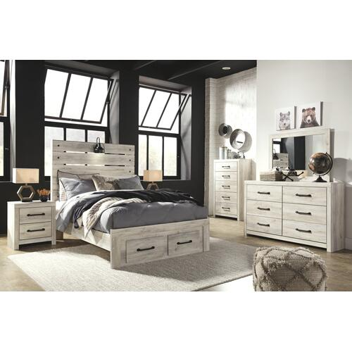 Full Panel Bed With 4 Storage Drawers With Mirrored Dresser, Chest and Nightstand