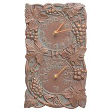 See Details - Grapevine Indoor Outdoor Wall Clock & Thermometer - Copper Vedigris