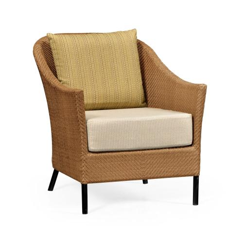 Occasional Armchair with Tan Rattan, Upholstered in COM