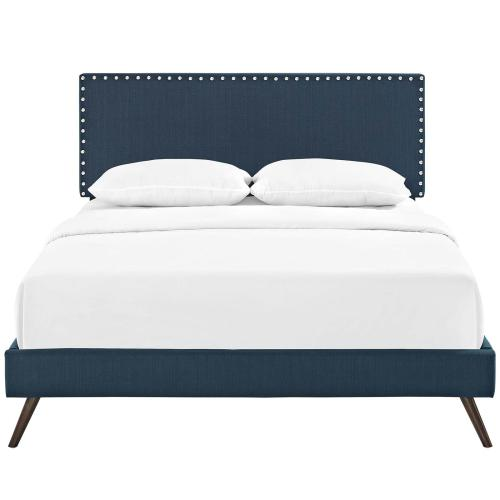 Macie Queen Fabric Platform Bed with Round Splayed Legs in Azure